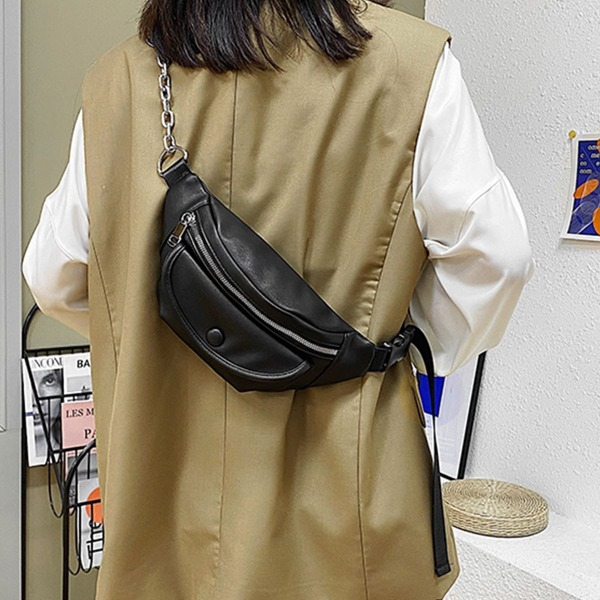 Minimalist Pocket Front Chain Fanny Pack, Black