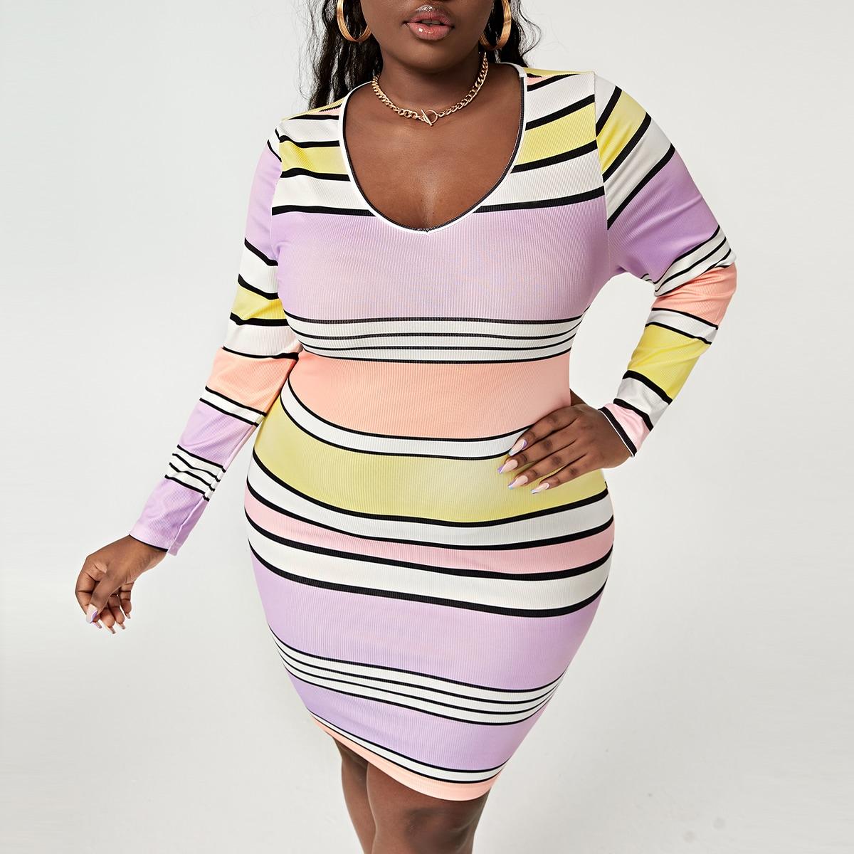 размера плюс Облегающее платье контрастный