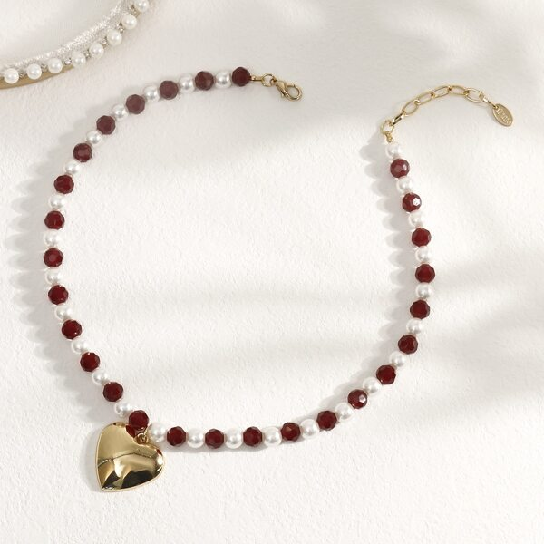 Heart Pendant Beaded Necklace, Multicolor