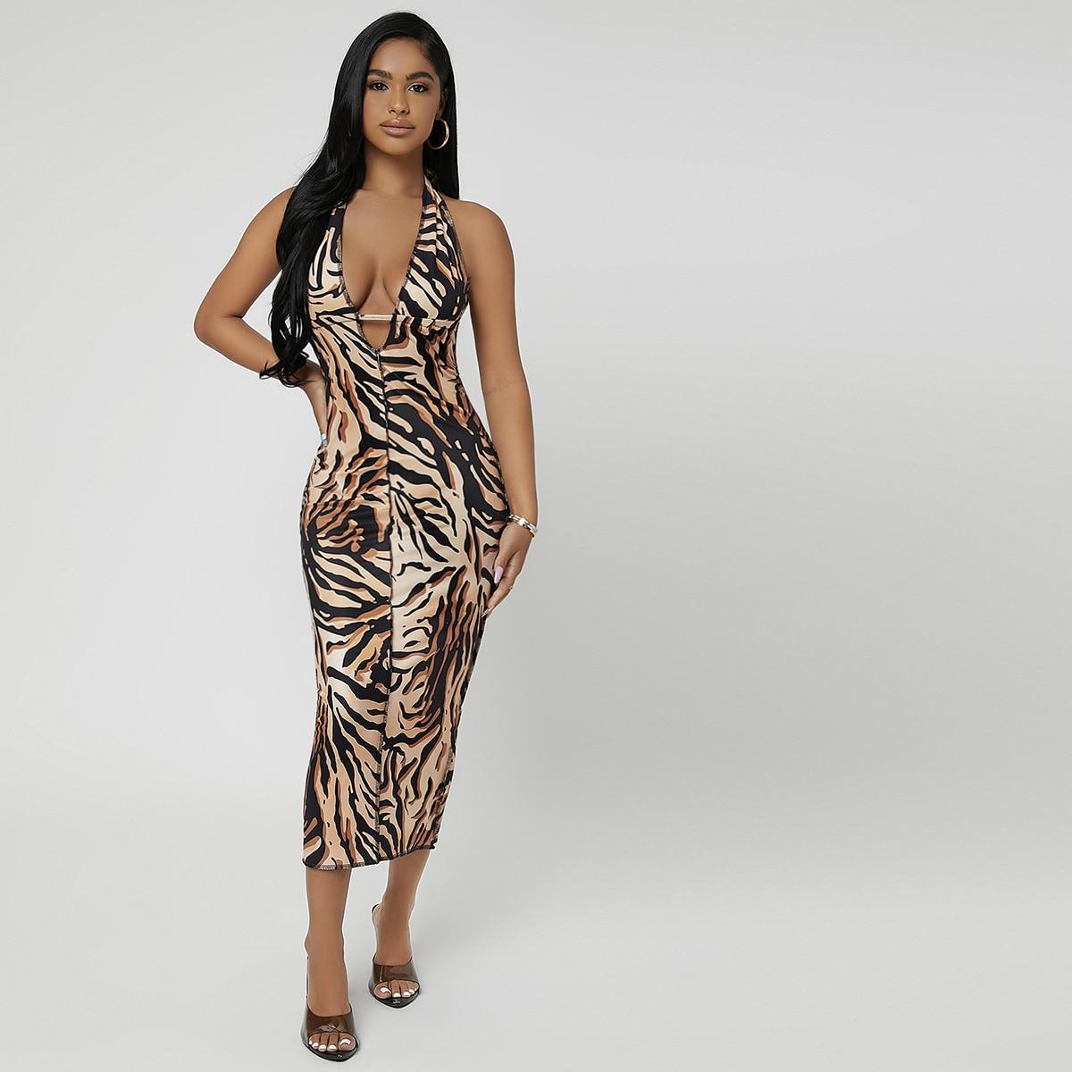 Self Tie Backless Tiger Striped Print Bodycon Dress