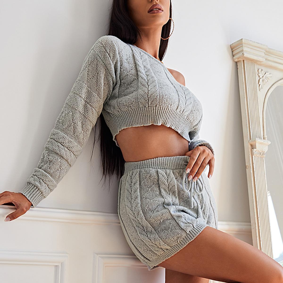 Asymmetrical Shoulder Ribbed Knit Crop Sweater & Shorts Set