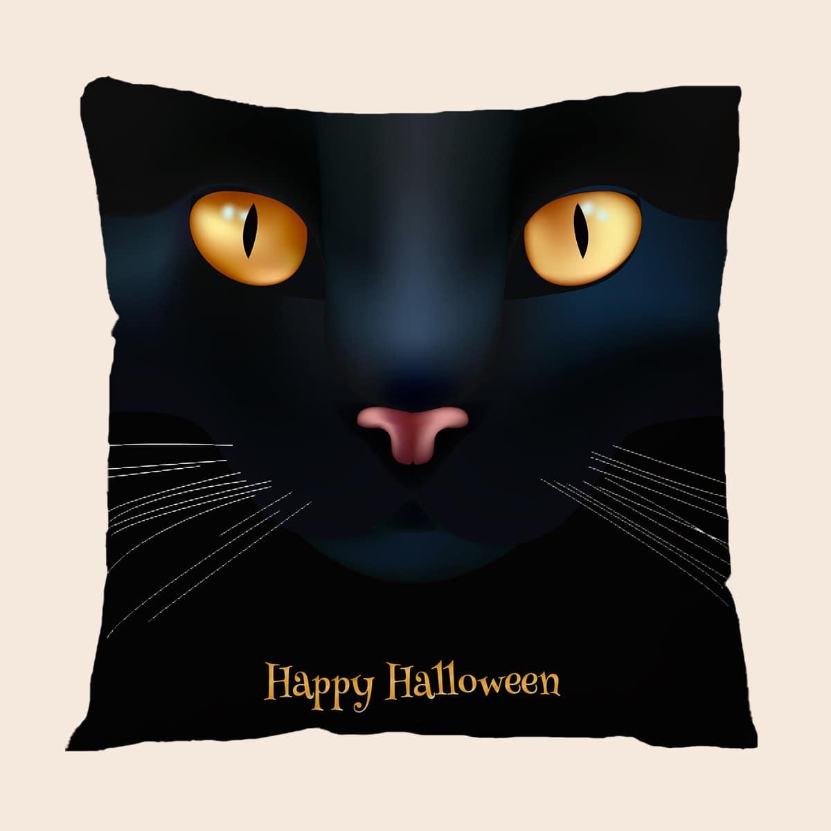 Чехол для подушки без наполнителя на хэллоуин с принтом кошки и буквы