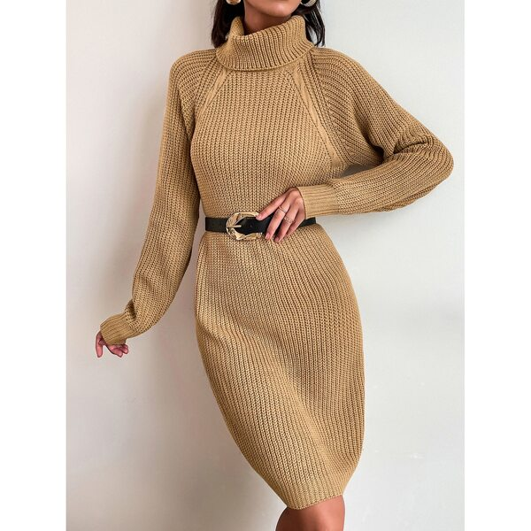 Raglan Sleeve Turtle Neck Sweater Dress Without Belt, Camel