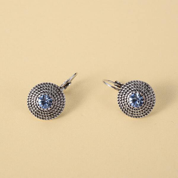 Rhinestone Detail Textured Metal Earrings, Baby blue