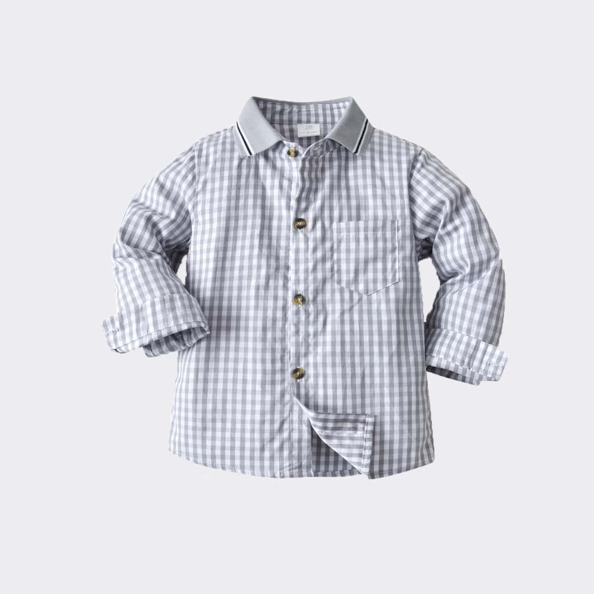 для мальчиков Рубашка в клетку контрастный воротник