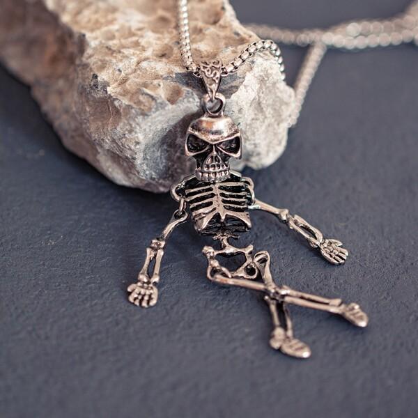 Men Halloween Skeleton Charm Necklace, Silver