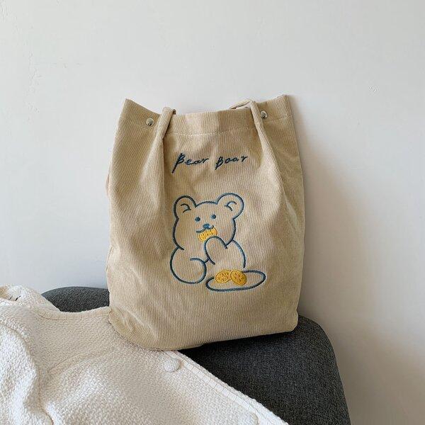 Girls Bear & Letter Graphic Shopper Bag, Beige