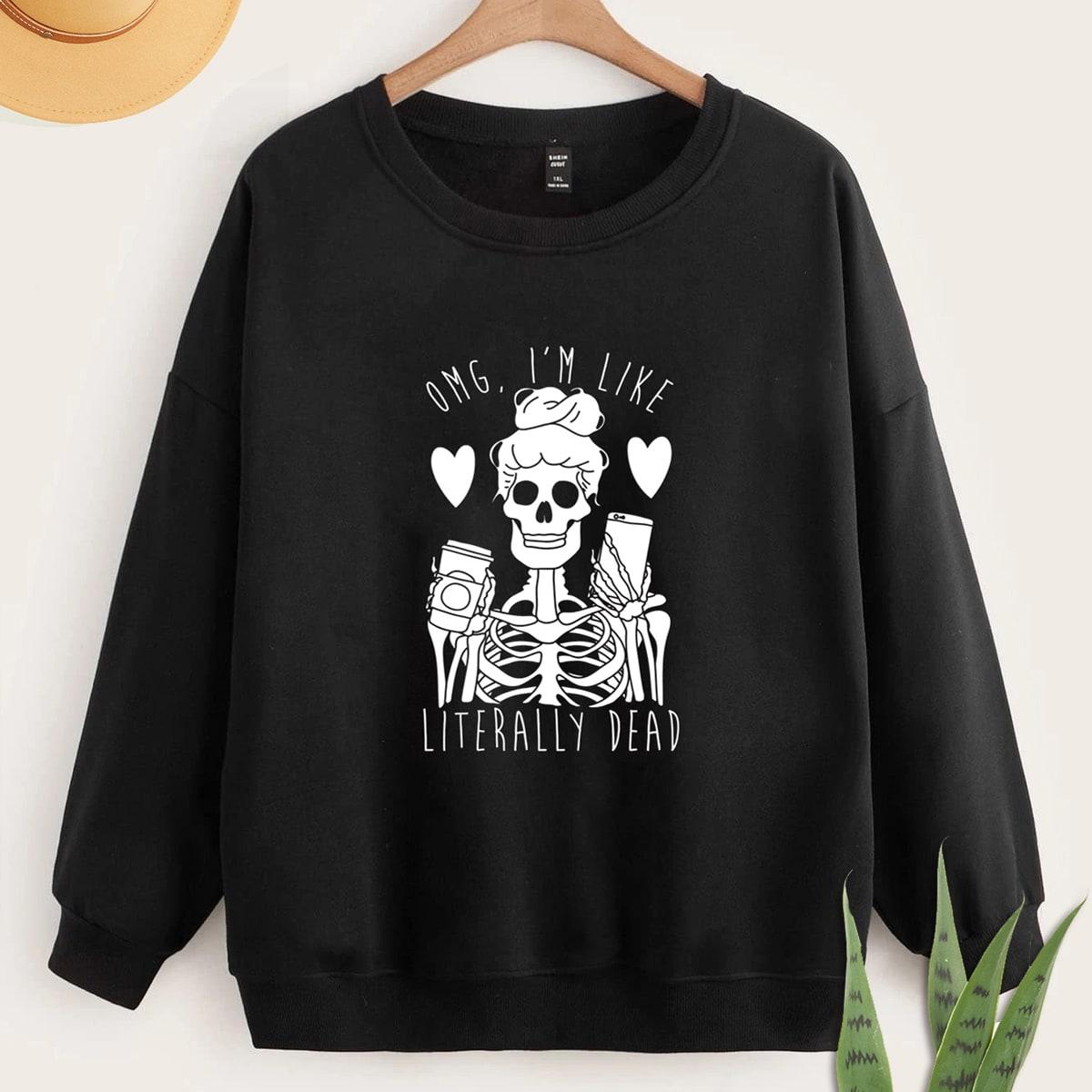 размера плюс Пуловер скелет & с текстовым принтом