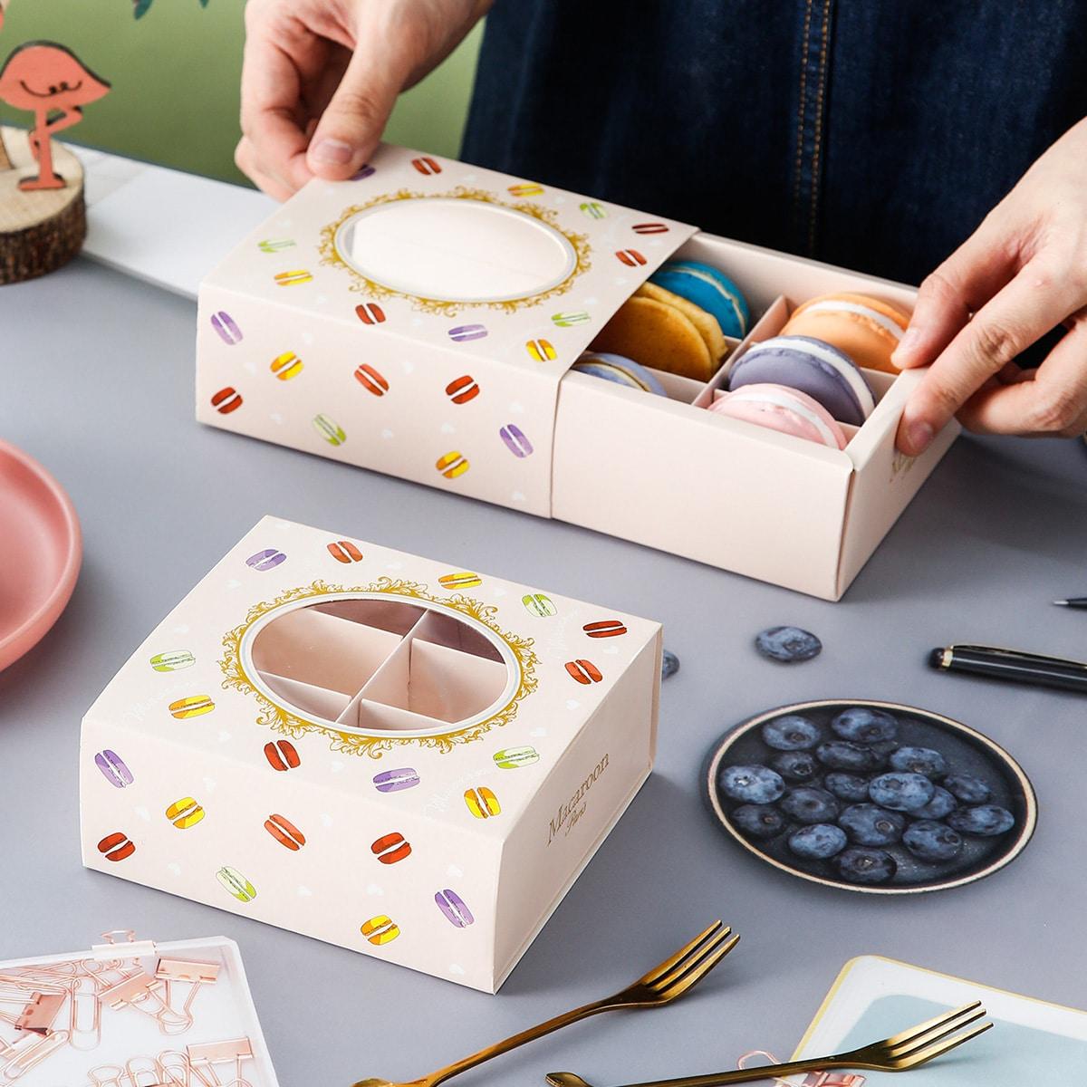 4шт Коробка макарон принтом десерт