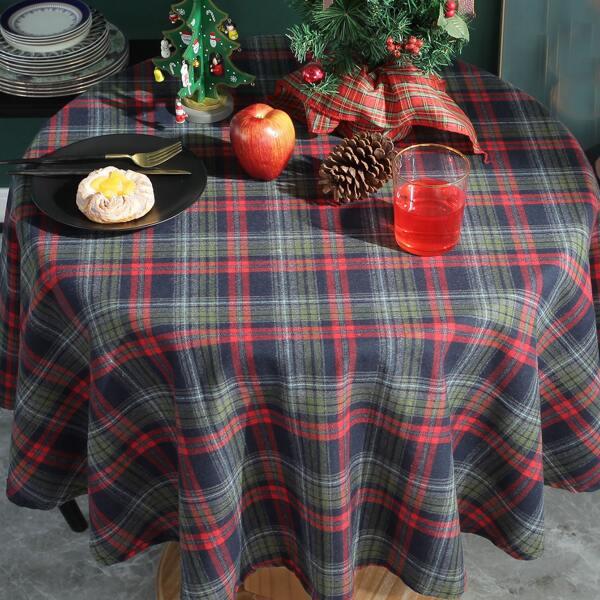 Plaid Pattern Tablecloth, Multicolor