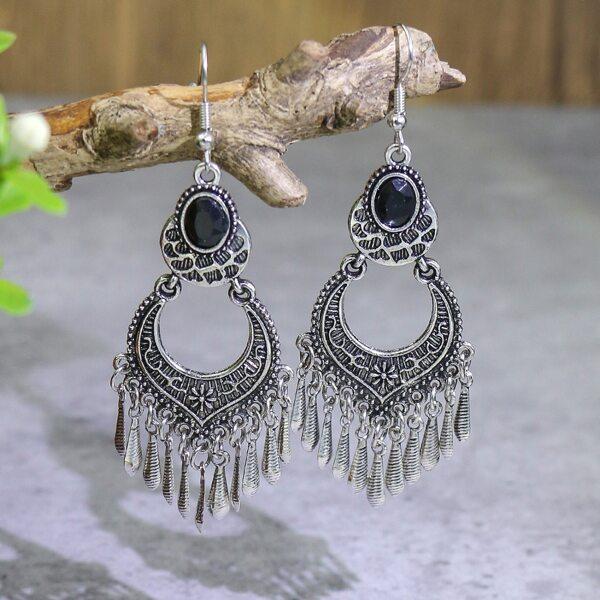 Textured Metal Vintage Drop Earrings, Antique silver