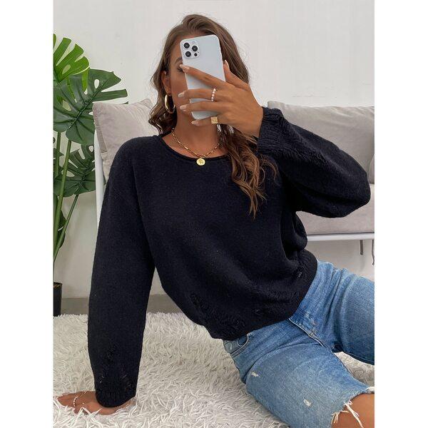 Drop Shoulder Ripped Detail Sweater, Black