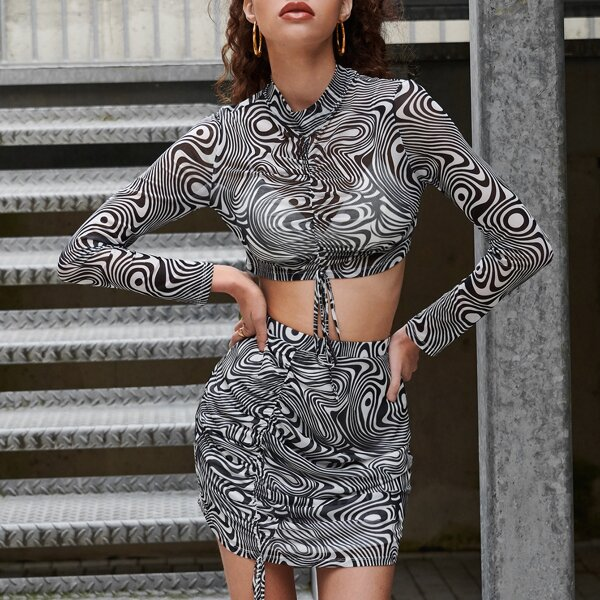 Allover Print Ruched Knot Front Crop Mesh Top & Bodycon Skirt, Black and white