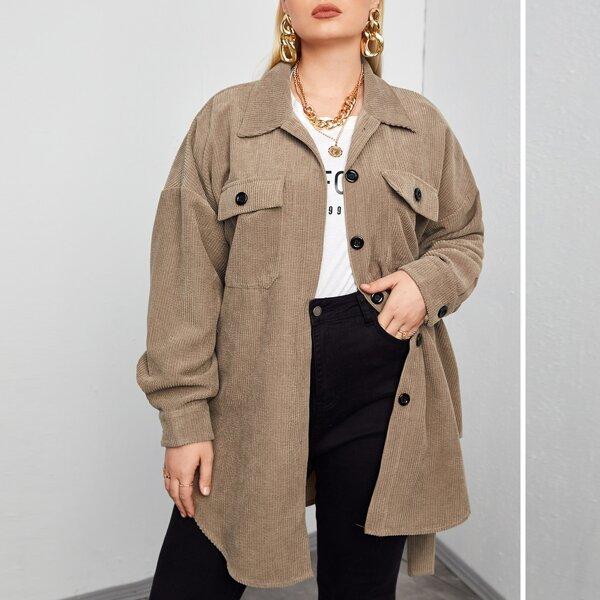 Plus Flap Pocket Drop Shoulder Corduroy Coat, Mocha brown