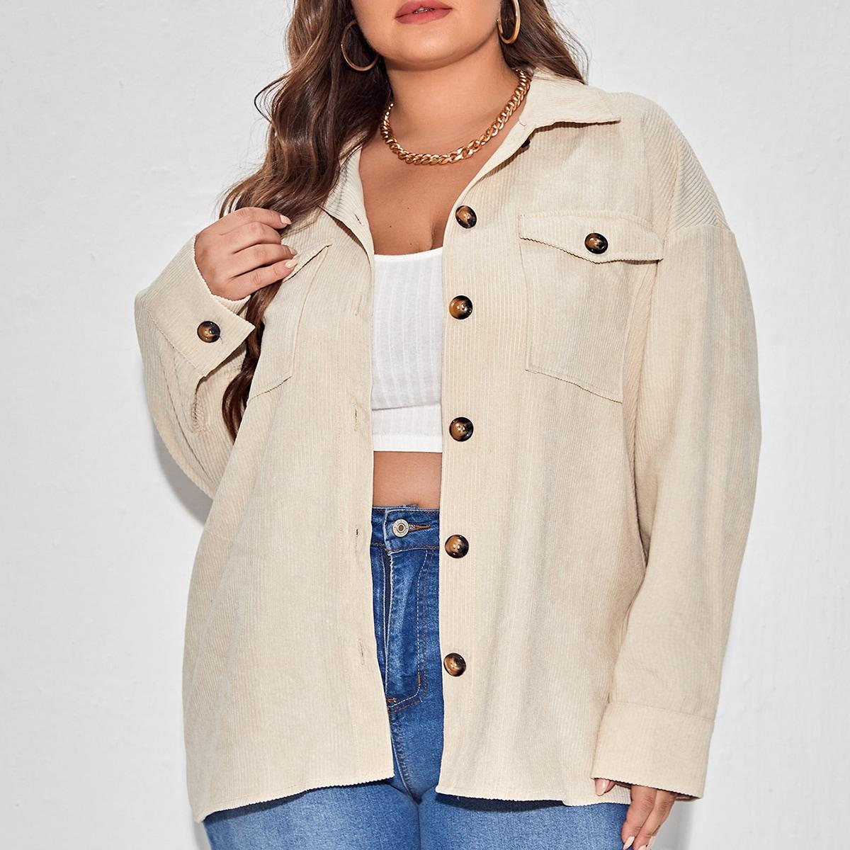 размера плюс Куртка с карманом из вельвета