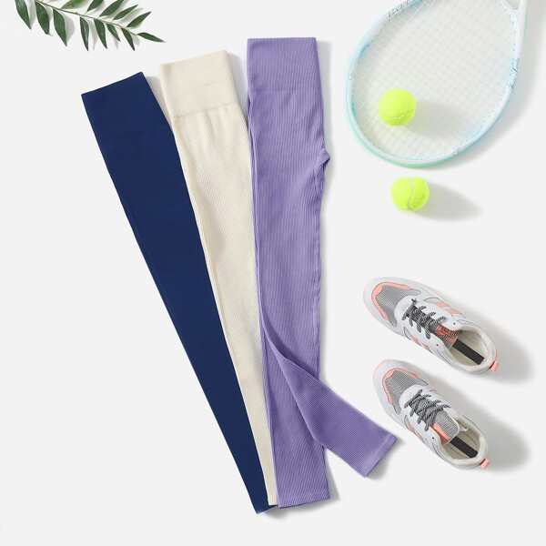 3pcs Wide Waistband Sports Leggings, Multicolor