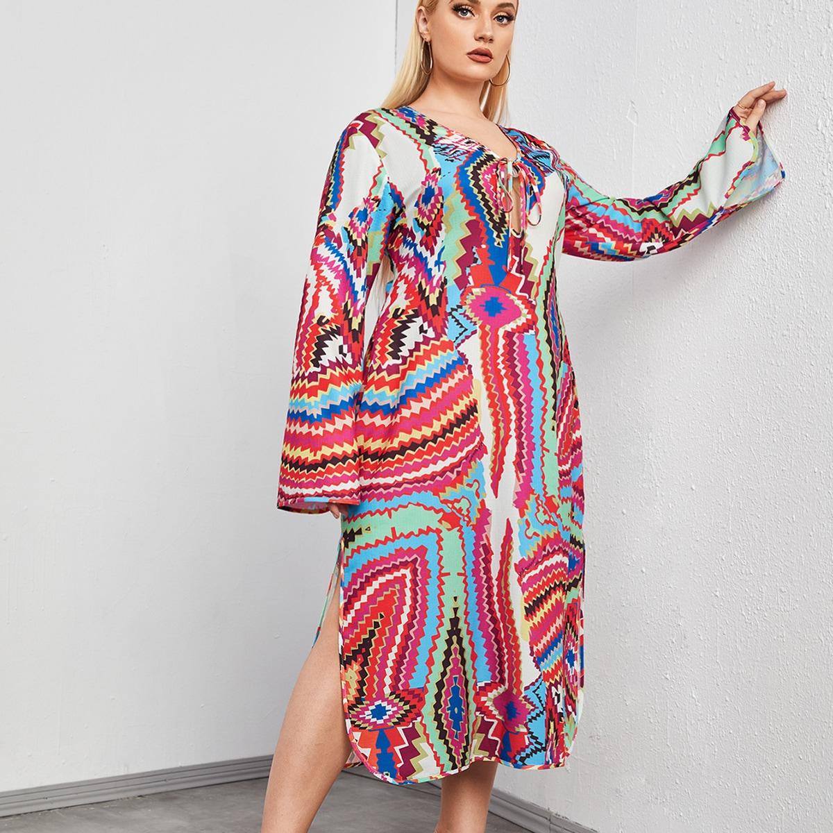размера плюс Платье с геометрическим принтом плетение с узлом с разрезом