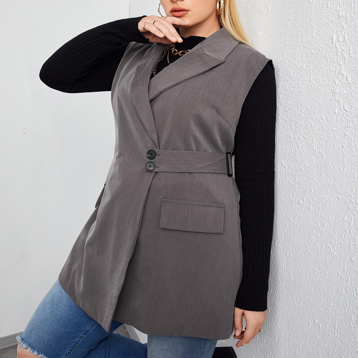 размера плюс Жилет-пиджак пуговица лента