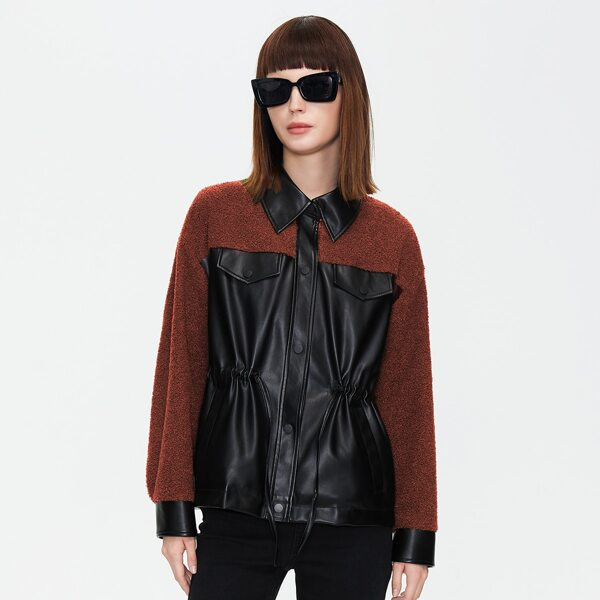 Contrast Shearling Button Front Jacket, Multicolor