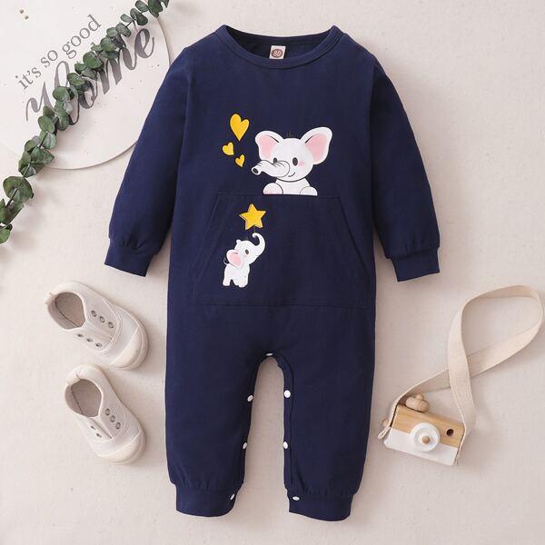 Baby Cartoon Elephant & Heart Print Kangaroo Pocket Jumpsuit, Navy blue
