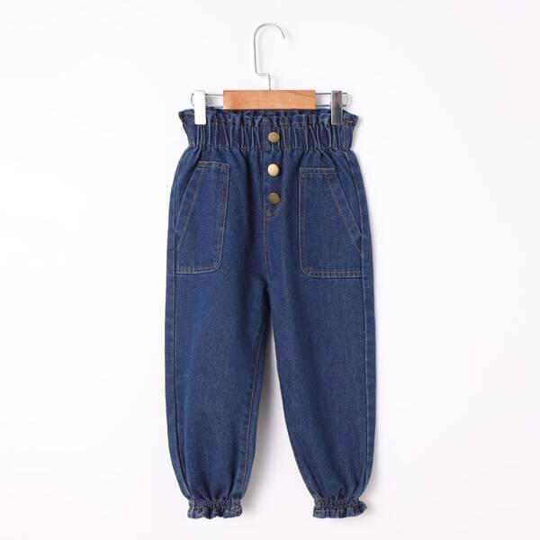 Toddler Girls Paperbag Waist Slant Pocket Jeans, Dark wash