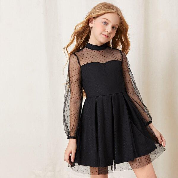 Girls Contrast Dobby Mesh Fold Pleated Hem Keyhole Back Dress, Black