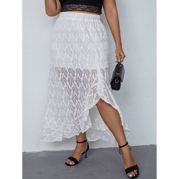 Plus Elastic Waist Ruffle Asymmetrical Hem Lace Skirt, White