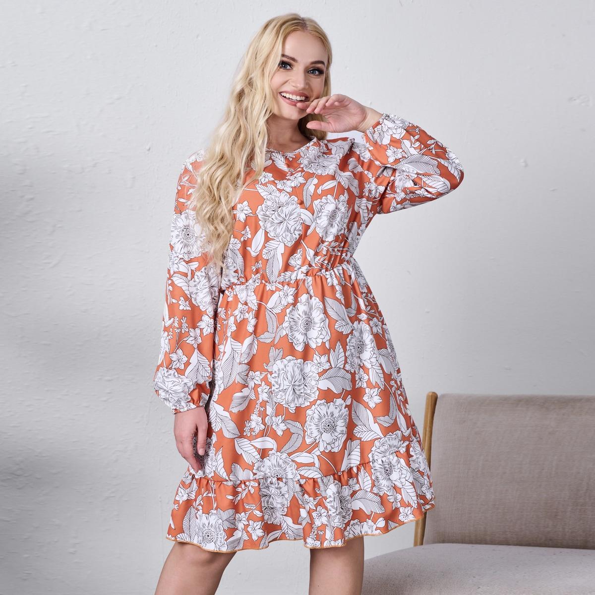 размера плюс Платье с цветочным рисунком с рукавом