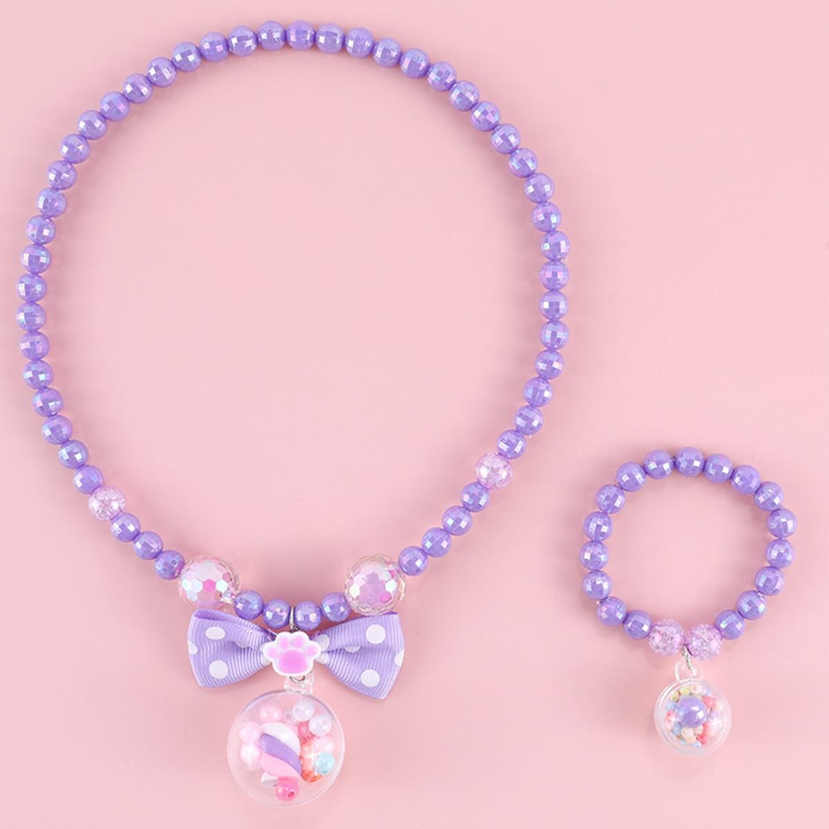 Ожерелье и браслет с бантом для девочек