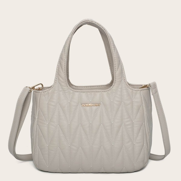Minimalist Quilted Square Bag, Light grey