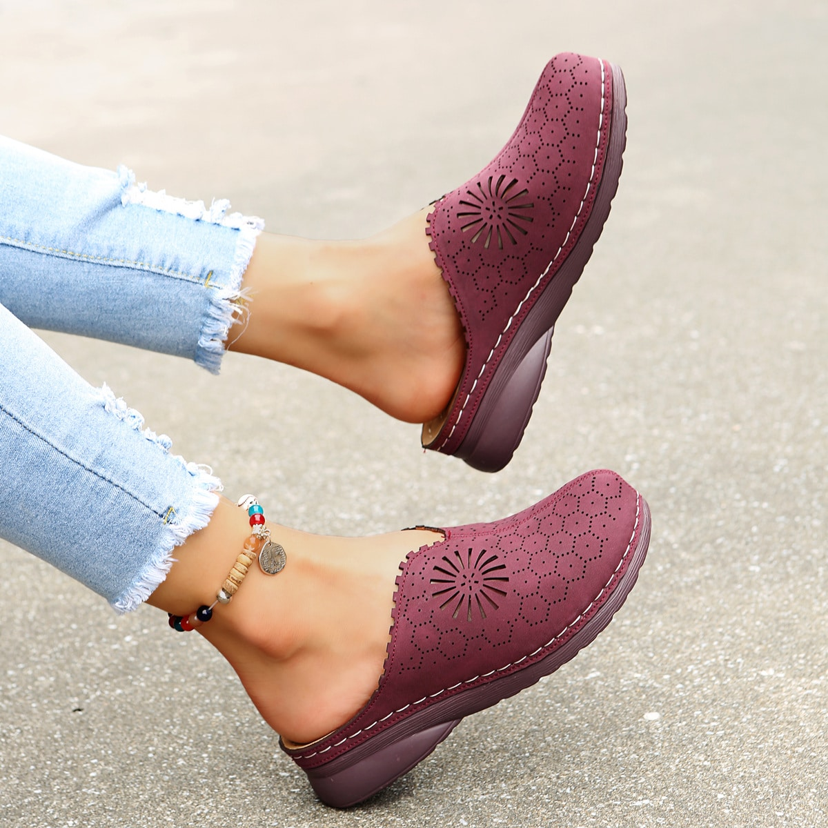Hollow out Flatform Mules, SHEIN  - buy with discount