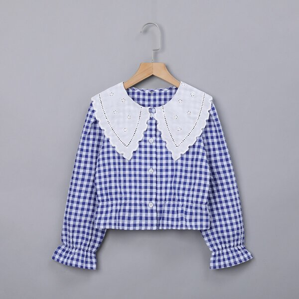 Girls Gingham Flounce Sleeve Eyelet Embroidered Statement Collar Blouse, Blue and white