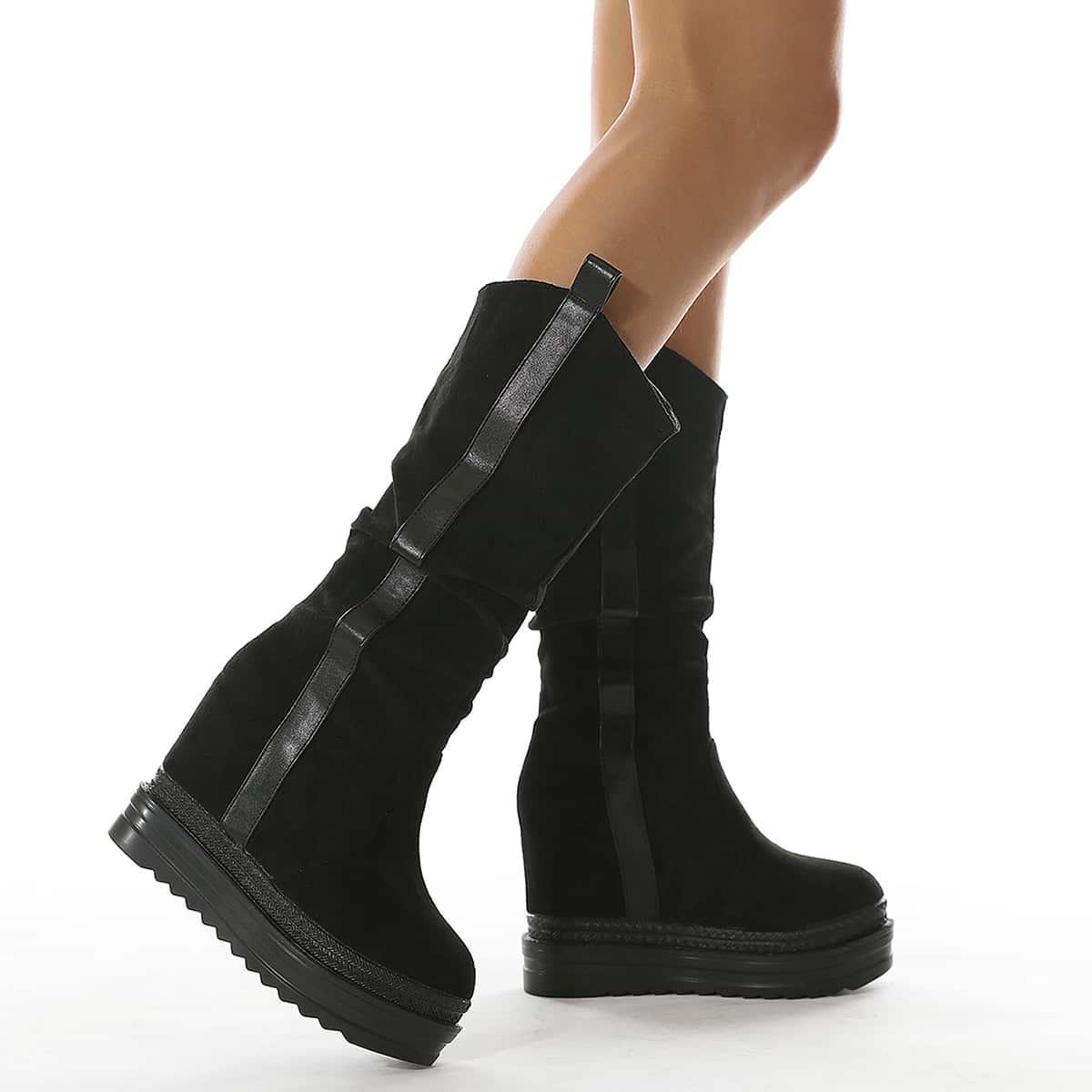 Minimalist Slip On Wedge Boots