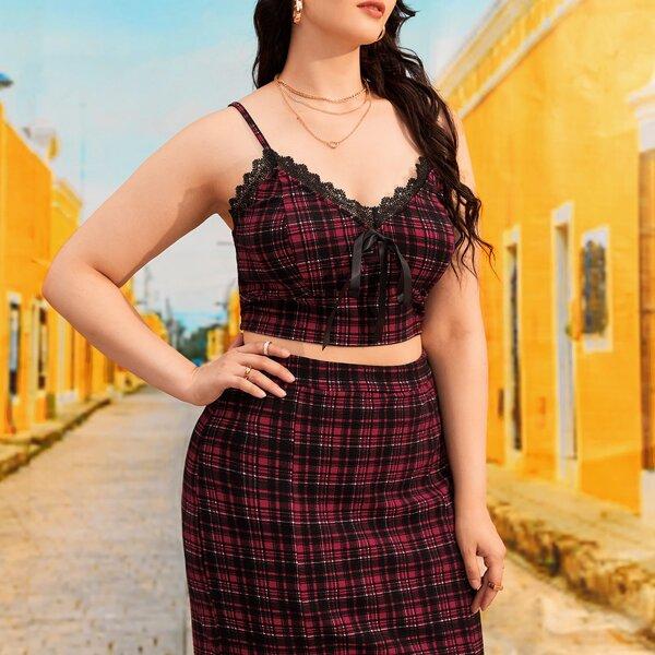 Plus Tartan Guipure Lace Detail Tie Front Cami Top & Bodycon Skirt, Multicolor