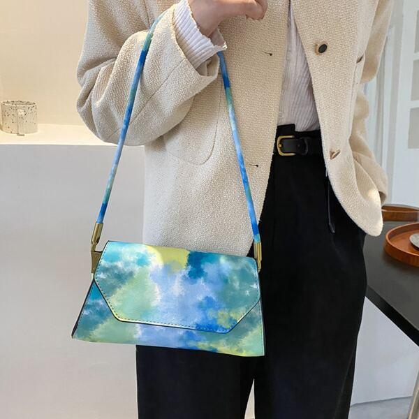 Tie Dye Flap Baguette Bag, Multicolor