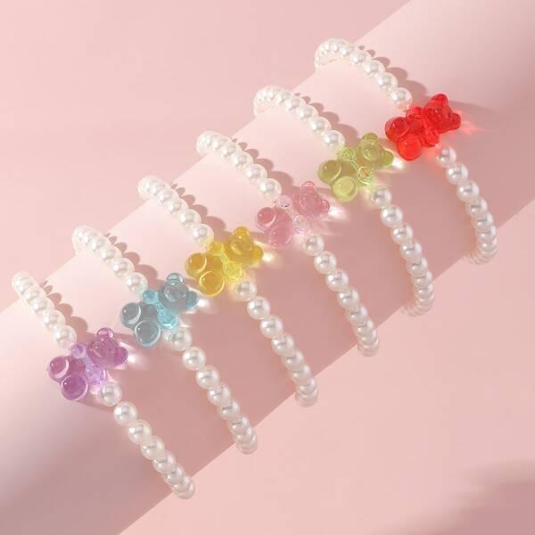 6pcs Girls Bear Decor Beaded Bracelet, Multicolor