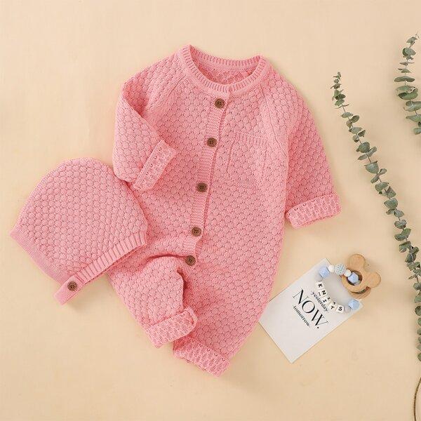 Baby Unisex Raglan Sleeve Pocket Detail Knit Jumpsuit & Hat, Pink