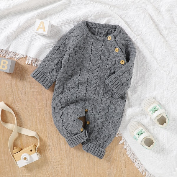 Baby Unisex Raglan Sleeve Button Detail Cable Knit Jumpsuit, Grey