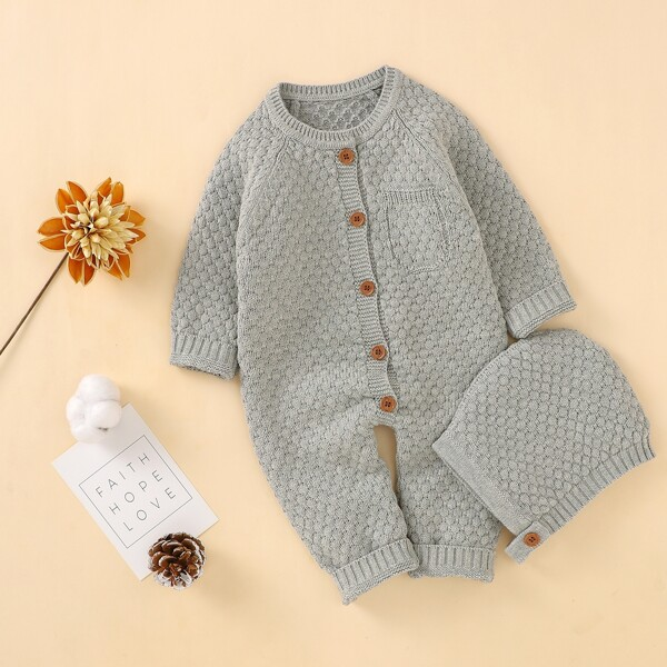 Baby Raglan Sleeve Pocket Detail Knit Jumpsuit & Hat, Grey