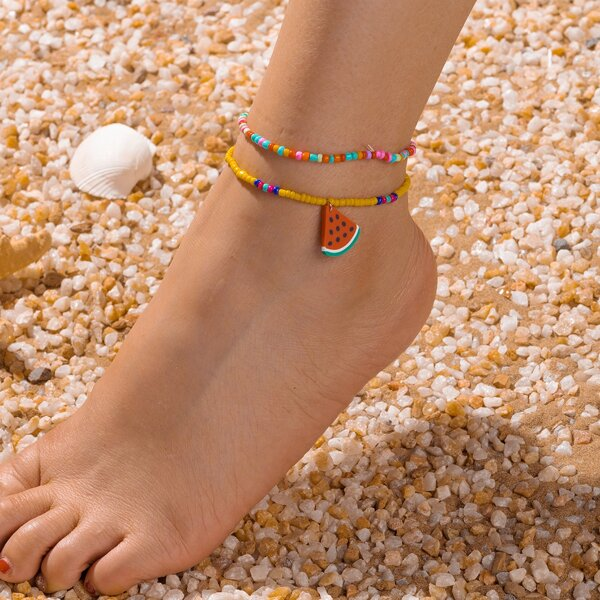 2pcs Watermelon Charm Beaded Anklet, Multicolor