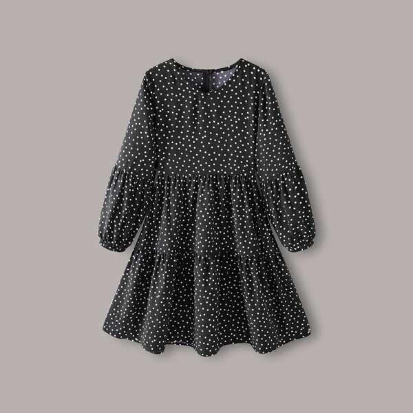 Girls Polka Dot Zipper Detail Smock Dress, Black