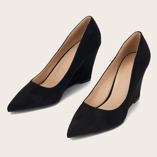Minimalist Suede Wedge Shoes, Black