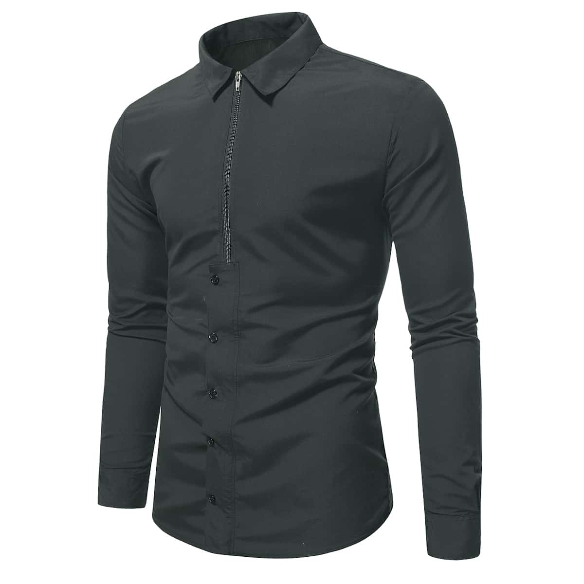 Мужской Рубашка с молнией & на пуговицах