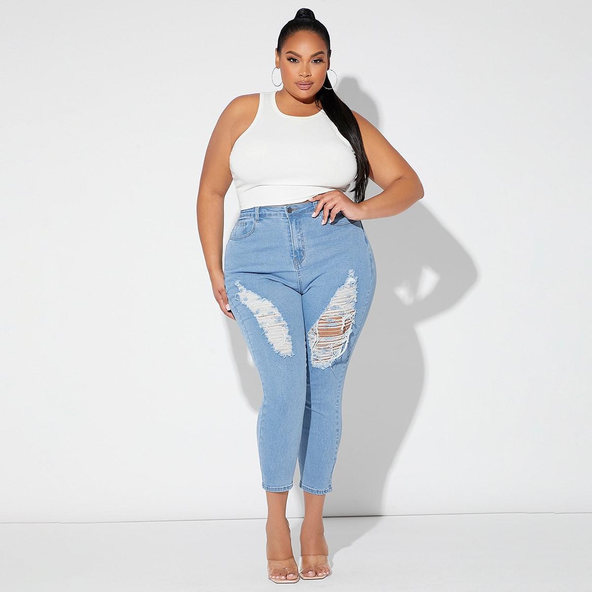 размера плюс Рваные джинсы скинни