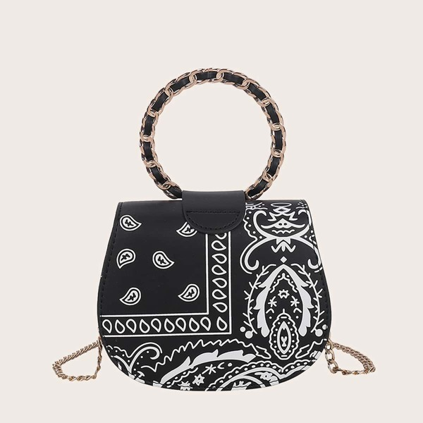 Paisley Pattern Flap Saddle Bag Without Hat, Black and white
