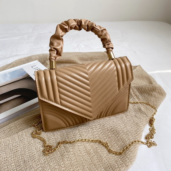 Minimalist Quilted Ruched Design Chain Satchel Bag, Khaki