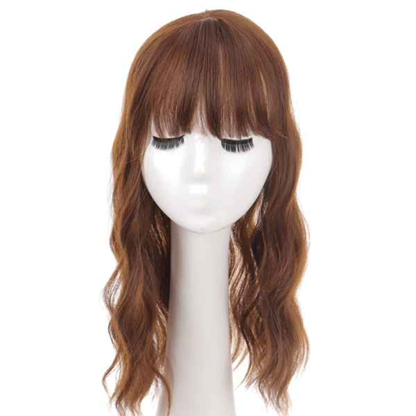 Natural Long Curly Wig With Bangs, Brown