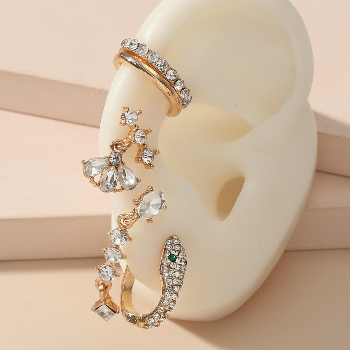 5pcs Rhinestone Serpentine Decor Earrings