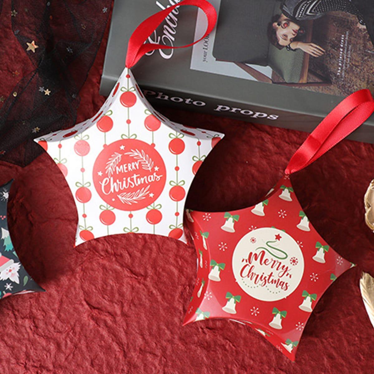 10шт Коробка для конфет с рождественским принтом случайный