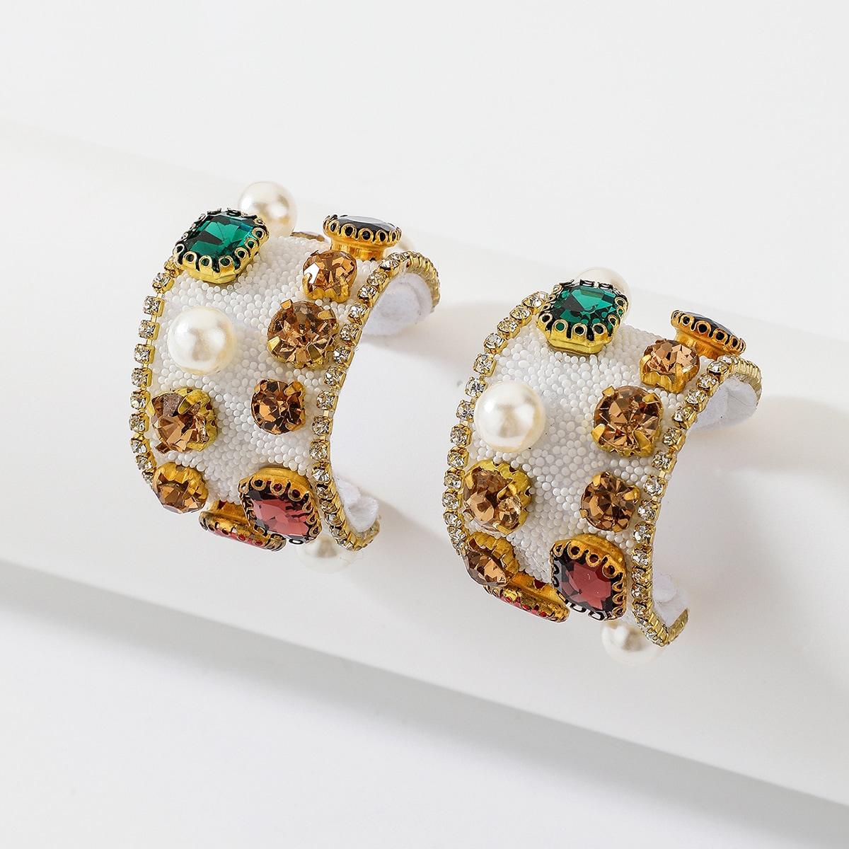 Rhinestone & Faux Pearl Decor Hoop Earrings